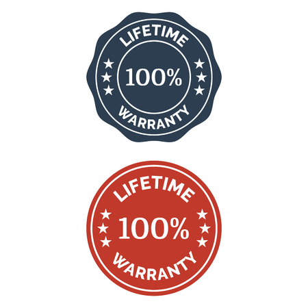Lifetime warranty flat badge in two versions. Vector illustration Illustration