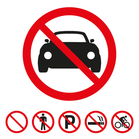 No cars sign on white background. Vector illustration Vector Illustration