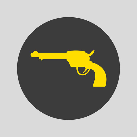 Revolver icon on gray background. Vector Illustration