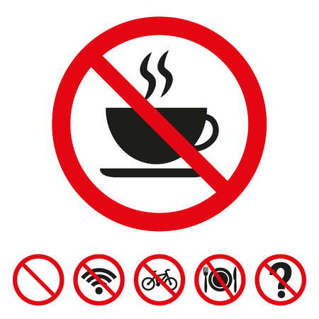 No coffee sign on white background. Vector illustration Vectores