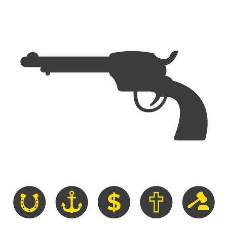 Revolver icon on white background. Vector Illustration