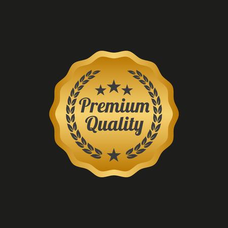 Premium quality label on black background. Vector illustration