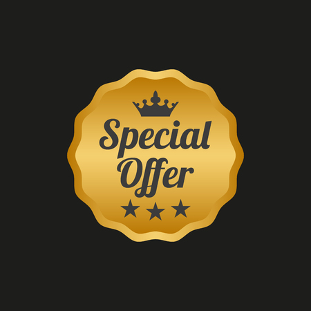 Special offer label on black background. Vector illustration