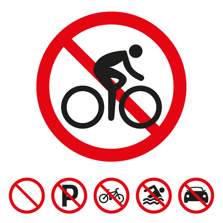 No bicycle sign on white background. Vector illustration 일러스트