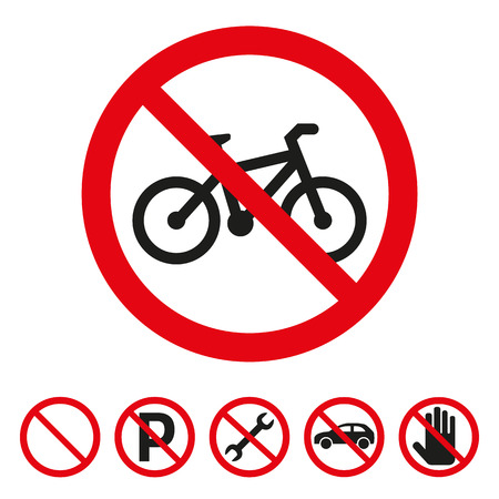 No bicycle sign on white background. Vector illustration Illustration