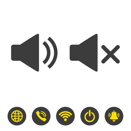 Volume sound icons on white background. Vector illustration