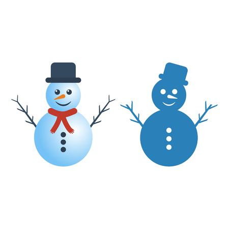 Snowman on white background. Vector Illustration