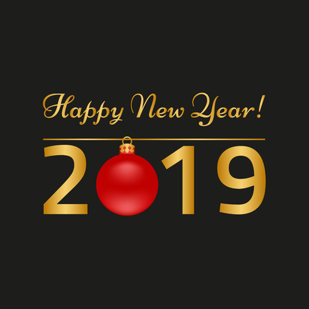 Happy New Year greeting card on black background. Vector illustration