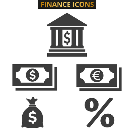Finance icons set on white background. Vector illustration Illusztráció