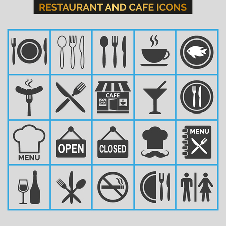 Restaurant icons set on grey background. Vector illustration Illusztráció