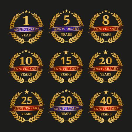 Anniversary golden laurel wreath set on black background. Vector illustration