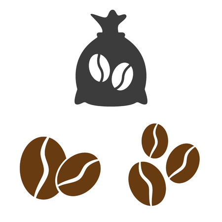 Coffee sack and coffee bean icons on white background. Vector illustration