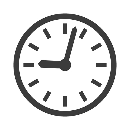 Clock icon on white background. Vector illustration
