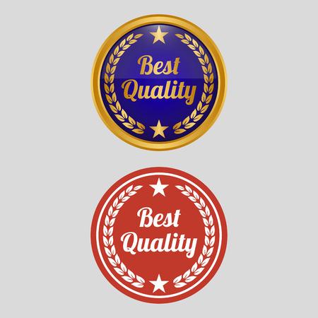 Best quality label on grey background. Vector illustration Çizim