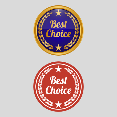 Best choice label on grey background. Vector illustration