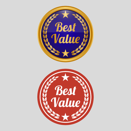 Best value label on grey background. Vector illustration