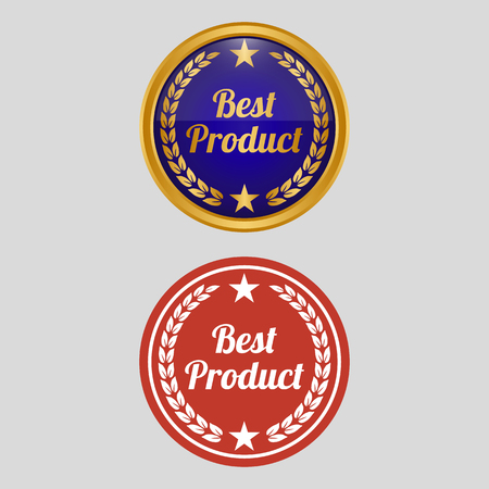 Best product label on grey background. Vector illustration