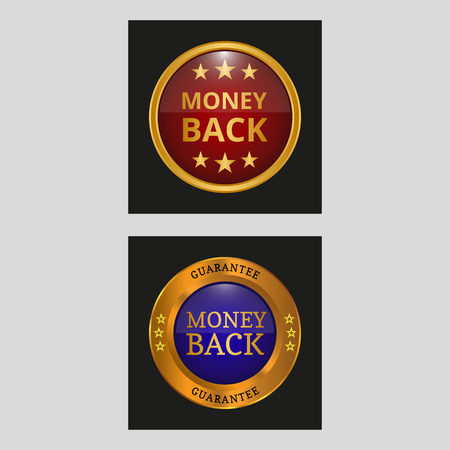 Money back golden guarantee label. Vector illustration