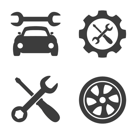 Car service and repair icons set on white background. Vector illustration Illusztráció