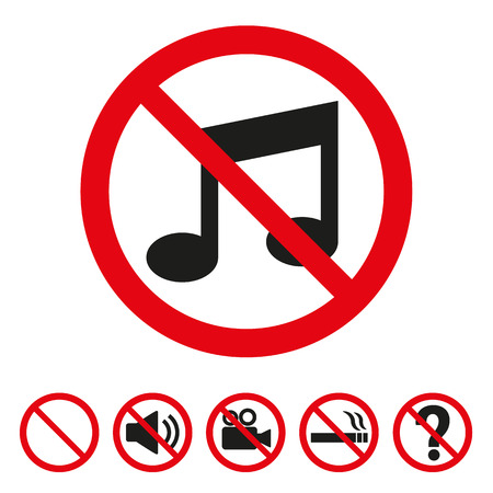 No music sign on white background. Vector illustration