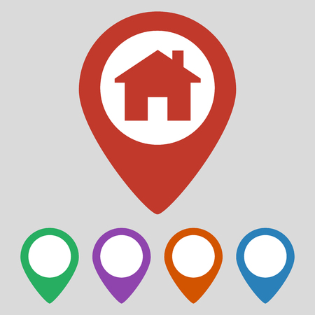 Location icon flat with house on grey background. Vector illustration