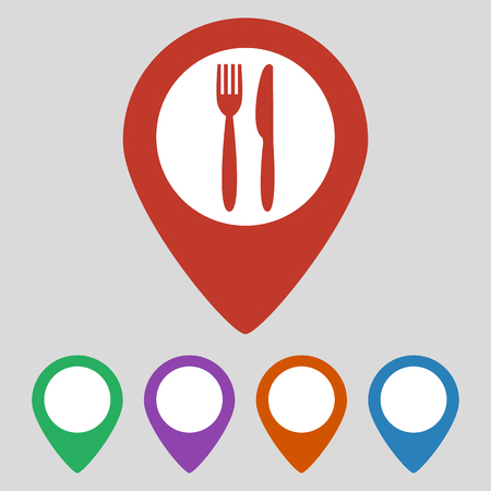 Map marker location with fork and knife. Vector illustration