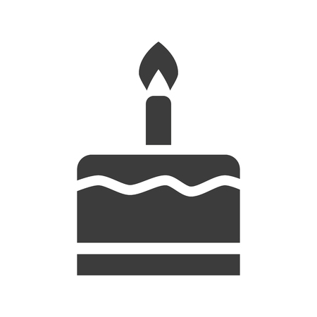 Birthday cake icon on white background. Vector illustration