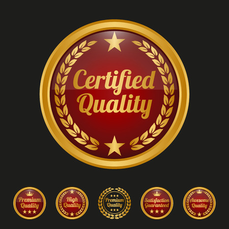 Certified quality badge on black background. Vector illustration