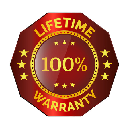 Red lifetime warranty badge on white background Illusztráció