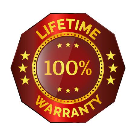 Red lifetime warranty badge on white background Illustration