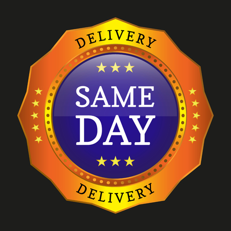 same day delivery button on black background. Vector illustration