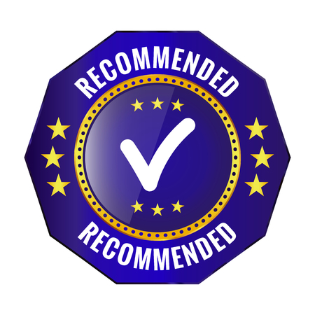 recommended blue badge on white background. Vector illustration Illusztráció