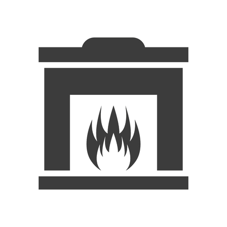 Fireplace icon on white background. Illustration