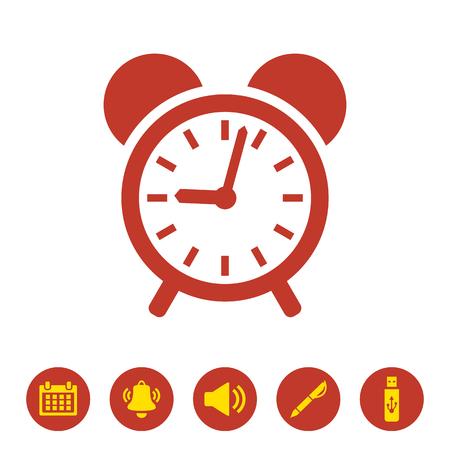 Icono de reloj de alarma sobre fondo blanco. Ilustración vectorial