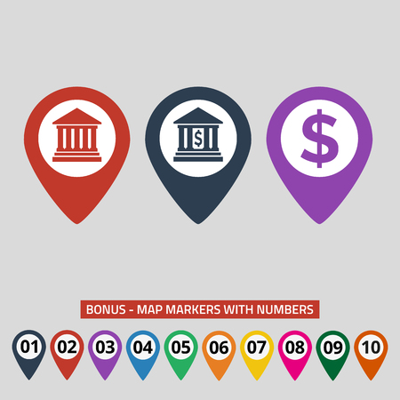 Map pointers with bank icon on grey background.