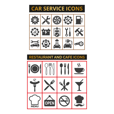 Set of car service icons and cafe icons on white background. Vector illustration
