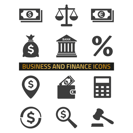 Icone di finanza messe su priorità bassa bianca.