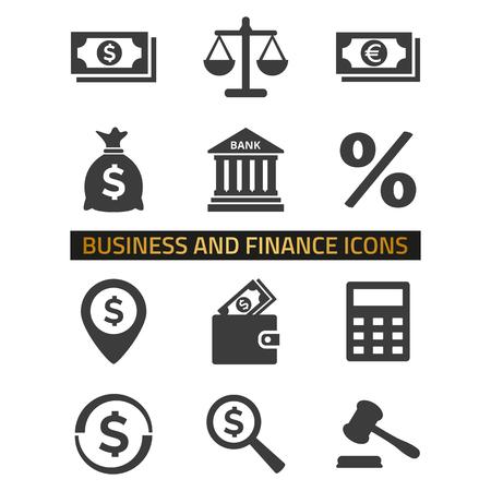 Iconos de finanzas en fondo blanco.