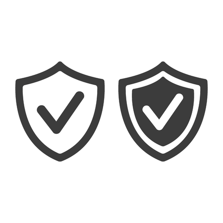 Shield with check mark icon on white background. Vector Illustration