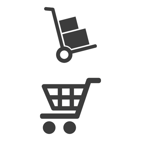 Handcart and shopping cart icons on white background.