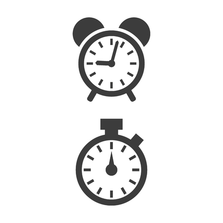 Alarm clock and stopwatch icons on white background. Vector Illustration