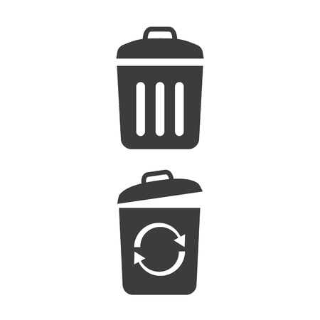 Trash bin icons on white background. Vector illustration