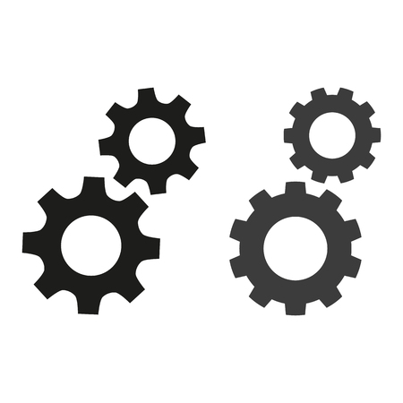 Gears flat icons on white background. Vector illustration