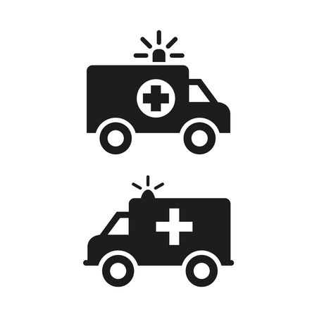 Ambulance icons on white background. Vector illustration
