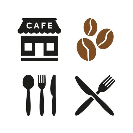 Restaurant and cafe icons set on white background. Vector illustration