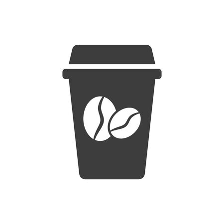 Disposable coffee cup icon on white background. Vector illustration