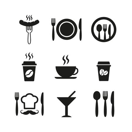 Restaurant and cafe icons set on white background. Vector illustration Stok Fotoğraf - 131646110
