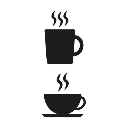 Coffee cup flat icon on white background. Vector illustration