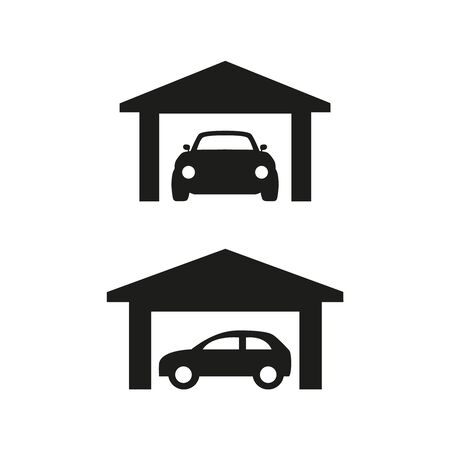 Car garage icons on white background. Vector illustration