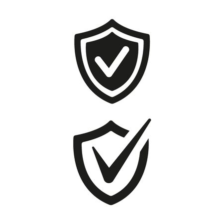 Shield with check mark icons on white background. Vector Illustration